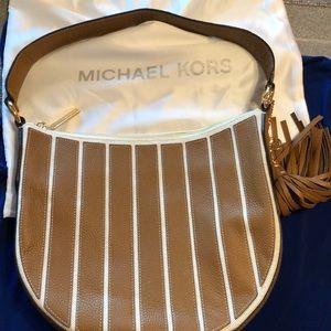 Michael Kors brown striped shoulder bag